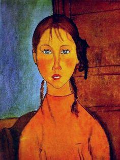 Modigliani - Girl with braids (1918)