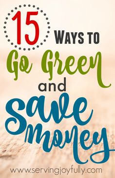 I've heard some Christians refer to going green as some liberal or hipster trend, but it's more than that--it's good stewardship. AND, it can save you money! See how...