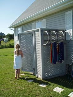 Outdoor Shower With Lobster Trap Towel Rack Baths Showers Pool