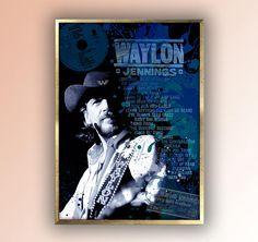 Waylon Jennings Retro Poster Country Art  Music Poster Room