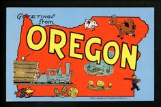 Large Letter Like linen postcard Cartoon Comic Style Kropp CM14 Oregon OR train