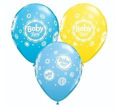 """Balon lateksowy 11"""" z dwustronnym nadrukiem Baby Boy w kropki.  Doskonała dekoracja na przyjęcie Baby Shower, z okazji narodzin dziecka oraz do ciążowych sesji fotograficznych."""