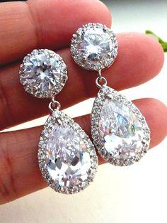 Bridal Earrings Kim Kardashian Inspired High Quality White Clear Pear Shaped CZ Cubic Zirconia Round Post Earrings. $45.00, via Etsy.