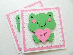 READY TO SHIP Kids Valentine Cards, Frog Valentine Cards, Handmade Valentine Cards, Valentine's Day on Etsy, $20.00