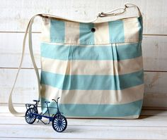 NEW 2012 SUMMER - Cross body bag / Diaper bag STOCKHOLM Pale Turquoise and Ecru Striped/ Water Resistant