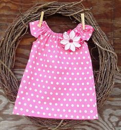 Girls Easter Dress Pink Dot  Dress  Peasant by SouthernSister2, $25.00