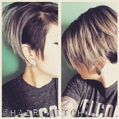 Black pixie undercut with grey highlights step-by-step process.  Formula A: Matrix Light Master with 30 vol. & Olaplex   Formula B: Matrix SoColor 3N & 10 vol.  Formula C: Redken ShadesEQ 09B   Step 1: Created a horseshoe parting on top from recessions to lower-part of crown, made a V-parting to occipital bone and highlighted heavily with Formula A.   Step 2: Painted Formula B on base and painted through random pieces.  Step 3: Rinsed, applied Formula C for 5 minutes at sink and then applied…