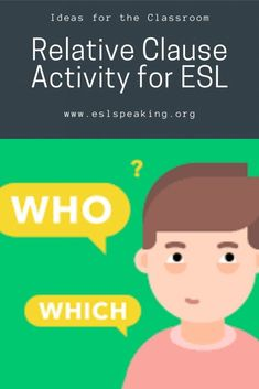 Find out all the details you need to know about this relative clause activity that's perfect for English learners. Have some run with relative pronouns with your ESL/EFL students by using this engaging, interactive and student-centered activity. #pronoun #relativeclause #clause #relative #relativepronoun #english #eslgrammar #grammar #englishgrammar #teachinggrammar #teachingenglish #englishteacher #esl #efl #tesol #tesl #efl #elt Relative Clauses, Relative Pronouns, Teach English In Japan, Teaching English Grammar, Find A Job, Esl, Lesson Plans, Students, Teacher