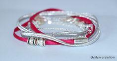 Bracelet multi rangs ruban satiné fushia et perles argentées - Emile