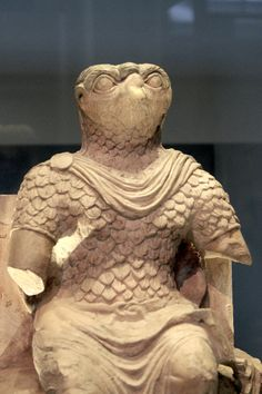 Horus dressed in Roman military costume, Egypt, AD 50-300. At the British Museum.    How else do you win over a nation's heart but to mold your ideology with their own?