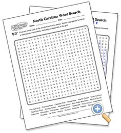 North Carolina Wordsearch, Crossword Puzzle, and More | Crossword ...