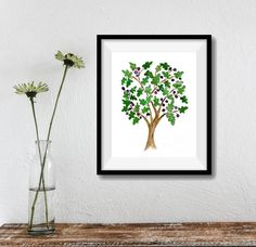 Fig Tree art print watercolor print fig tree Folk by TheJoyofColor
