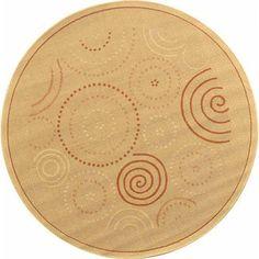 Safavieh Ocean Swirls Natural/ Terracotta Indoor/ Outdoor Rug - x Round x Round - Natural/Terra), Brown