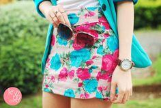 blue flower's skirt