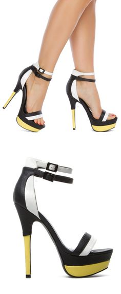 Nanine heels // black, white & yellow