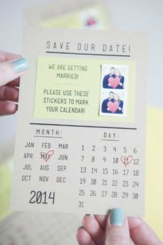 save the date DIY. This would be cute as a magnet.
