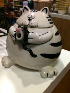 Pier 1 Chubby Cat Teapot
