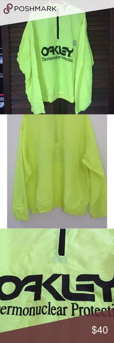 b264c5a3aae39 OAKLEY Vintage Surf Style Thermonuclear jacket Vintage neon yellow Oakley  Thermonuclear Protection Surfstyle windbreaker Jacket.