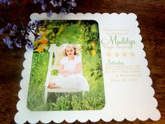 LDS Baptism Photo Card 50 Cream Square by inkddesigns on Etsy