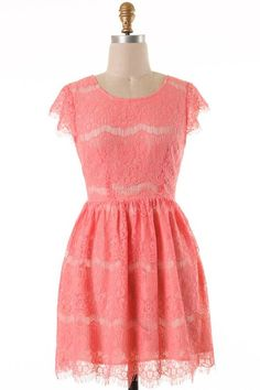 Coral and Lace Dress - Nobella Grace Boutique! Would be perfect for Easter, Weddings, Photos! #nobellagrace #lacedress