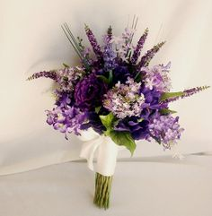 Spring Wedding Bouquet Set Purple Lilacs Bridal by AmoreBride, $105.00
