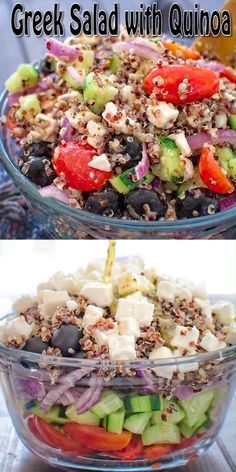 I love Greek Salad! Fresh vegetables pair so well with flavorful olives and salty feta. This time around, I added some quinoa, to make this salad even tastier and more filling. I have absolutely no … Greek Quinoa Salad, Quinoa Salat, Healthy Dinner Recipes, Vegetarian Recipes, Clean Eating, Healthy Eating, Mediterranean Diet Recipes, Greek Recipes, Fresh Vegetables