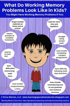 What Do Working Memory Problems Look Like in Kids? (Learning Specialist and Teacher Materials - Good Sensory Learning) Brain Based Learning, Kids Learning, Memory Strategies, Memory Problems, Working Memory, Learning Support, School Psychology, Educational Psychology, Learning Disabilities