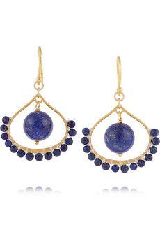 Chan Luu Boucles d'oreilles en plaqué or et lapis-lazuli  | NET-A-PORTER