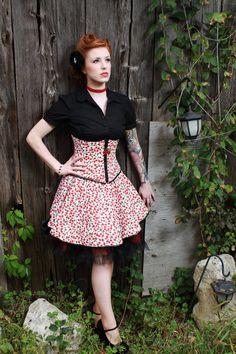 Pin Up Girl Cherry UnderBust Corset Waist Cincher & by fluffergirl Waist Cincher Corset, Underbust Corset, Pin Up Girls, Retro, Cherry, Corsets, Trending Outfits, Sexy, Skirts