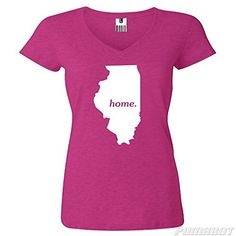 Women's 2XL Wow Pink Illinois Home State cotton v-neck shirt by PumaBot  Price : $22.00 http://www.pumabot.com/Womens-Illinois-cotton-v-neck-PumaBot/dp/B00L9DNJB4
