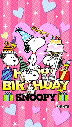Little Twin Stars Happy Birthday Snoopy Images, Snoopy Birthday, Cute Happy Birthday, Dog Birthday, Happy Birthday Cards, Birthday Quotes, Birthday Wishes, Birthday Posts, Snoopy Family