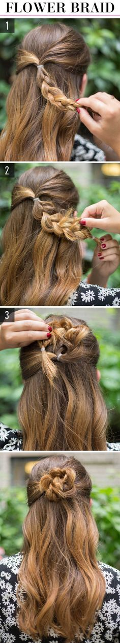Picture 1 1.Gather a section of hair from both sides of your head in line with your temples, and put the sections into a small pony in the back. Then, braid the pony down to the ends. 2.Tug at sections of the braid to loosen it to make it look more voluminous. The exaggerated edges also help create that flower-petal finish. 3.Spin the braid around into a bun, and pin it securely against your head.