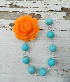 Tangerine Orange Rose and Turquoise Beaded Chunky Asymmetrical Necklace Gems Jewelry, Diy Jewelry, Jewelry Gifts, Beaded Jewelry, Beaded Necklace, Jewelry Design, Jewelry Making, Jewelry Necklaces, Rose Necklace