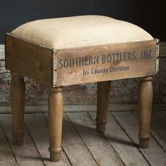 This beautifully crafted vintage inspired foot stool is made from wooden crates. Each wooden foot stool features a soft cushion and a distinctive appearance to add rustic charm to any space! For more visit Decor Steals. Furniture Projects, Furniture Makeover, Diy Furniture, Antique Furniture, Rustic Furniture, Outdoor Furniture, Furniture Stores, Western Furniture, Furniture Websites