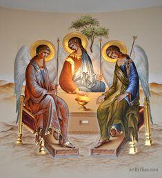 Fresco on altar wall Byzantine Icons, Byzantine Art, Catholic Art, Religious Art, Web Gallery, Spirited Art, Biblical Art, Learn Art, Art Icon