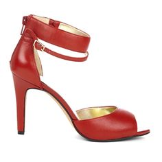 Red peep-toe heel with ankle straps.