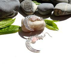 Boucles d'oreilles jade,rose,rocaille,lunes,plaqué argent : Boucles d'oreille par lapassiondisabelle
