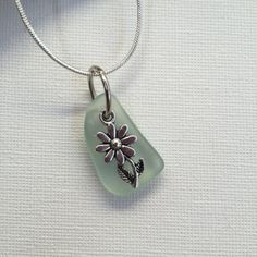 Handmade Genuine Sea Glass and Flower Necklace/Pendant, Silver Sea Glass Necklace, UK seller, Sea Glass Jewellery, Free Shipping, Necklace