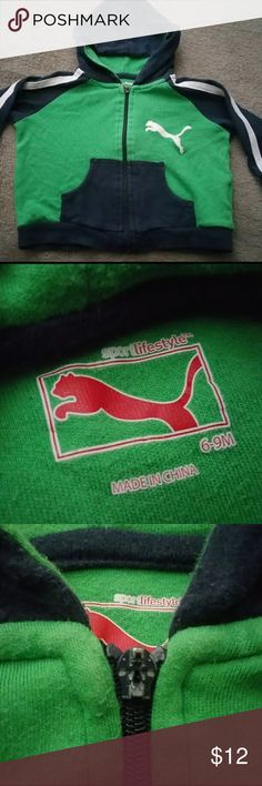Puma green sportlifestyle hoodie 6-9 m Puma green sportlifestyle hoodie 6-9 m  Zipper is missing pull, selling as is. SEE last Picture. In good used condition despite that flaw. Puma Shirts & Tops Sweatshirts & Hoodies