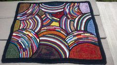 """Primitive hooked rug - """"Lost in Limbo"""" 25""""x30"""""""
