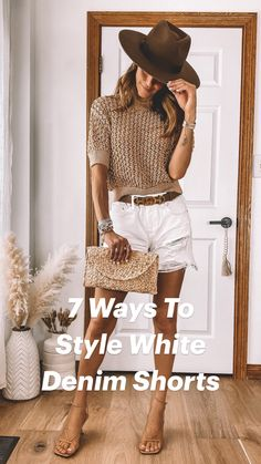 Chic Summer Outfits, Classy Outfits, Chic Outfits, Spring Summer Fashion, Casual Summer Style, Womens Fashion Outfits, Cute Shorts Outfits, Summer Outfits For Vacation, White Shorts Outfit Summer