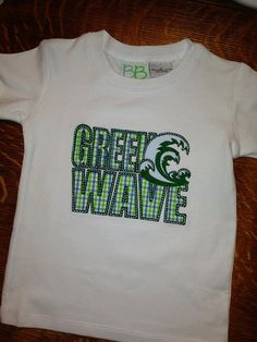 Tulane Green Wave applique T shirt. by SewMuchFun504 on Etsy, $29.00