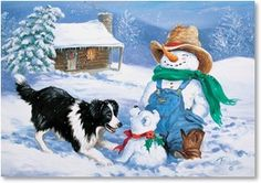 Western Christmas Cards from Leanin' Tree feature cowboys, horses, and other inspiring images of the Old West. Western Christmas, Christmas Border, Country Christmas, Border Collie Humor, Border Collie Art, Collie Dog, Christmas Animals, Christmas Cats, Christmas Posters