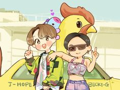 Chiken noodle soup Hoseok and Becky G 190927 Bts Chibi, Bts Taehyung, Hoseok Bts, Jhope Bts, Becky G, Bts Love, Animation, Bts Drawings, Bts Fans