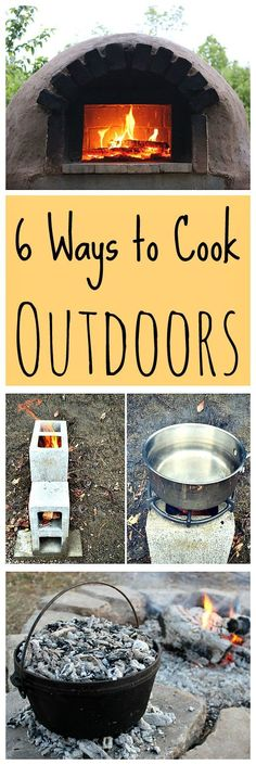 Ways to Cook Outdoors (without charcoal or propane) Here are some great ways to cook outdoors naturally - without charcoal or propane!Here are some great ways to cook outdoors naturally - without charcoal or propane! Survival Food, Homestead Survival, Wilderness Survival, Camping Survival, Outdoor Survival, Survival Prepping, Emergency Preparedness, Survival Skills, Camping Hacks