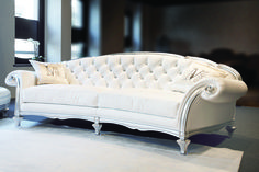 White Leather Sofa On Contemporary Living Room Furniture Leather Furniture, Sofa Furniture, Luxury Furniture, Furniture Design, Sofa Couch, Tufted Sofa, Sofa Set, Couch Pillows, Lounge Design