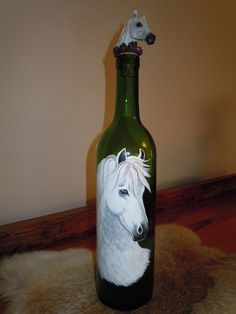Items similar to Hand painted wine bottle with motif of horse head on Etsy Painted Glass Bottles, Lighted Wine Bottles, Painted Wine Glasses, Wine Bottle Art, Wine Bottle Crafts, Jar Art, Bottle Painting, Mandala, Hand Painted