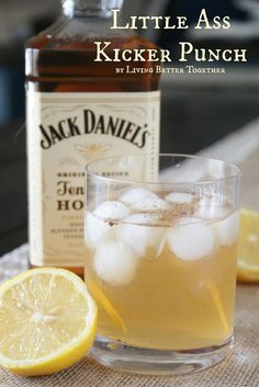 Little Ass Kicker Punch (How awesome is this?) Makes 26 cups Recipe: 1 1/2 quarts Sweet Tea 1 1/2 quarts Lemonade (I used Newman's Own) 1 1/2 liters Seltzer 1 liter Jack Daniels or Jim Beam 3/4 liter White Rum 3 lemons (sliced) Ground Nutmeg (optional) Making it for One? Do equal parts Sweet Tea, Lemonade, Seltzer, Whiskey, and Rum. Pour over ice and enjoy! Combine all ingredients in a punch bowl over ice.
