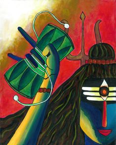 Shiva playing the Dumroo. Art Print by Purple Soul - X-Small Canvas Painting Designs, Texture Painting On Canvas, Abstract Canvas Art, Lord Shiva Painting, Ganesha Painting, Buddha Painting, Dance Paintings, Indian Art Paintings, Canvas Paintings