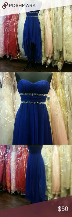 Royal Blue Semi-formal High-low Dress NWOT, sweetheart neckline with small double rhinestone belt, zipper side with elastic back, chiffon skirt, short in the front, long in the back, great for prom, homecoming, wedding, pageants, parties, or any formal event. Designer: Capricho, size: estimated Small or Medium or 4-8 (can fit both thanks to the back), color: royal blue. Sherri Hill for exposure. Sherri Hill Dresses Asymmetrical